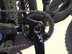 The Raceface narrow & wide chainring removes the need for any chain retention (with help from the shadow+ type rear mech)