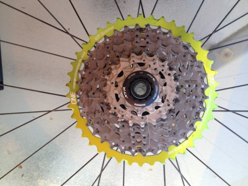 42T Low gear care of One Up Components. This is added to your 10 speed XT cassette, by removing either the 15T or 17T gear. They have now started making a 16T gear so you would remove both 15T & 17T and replace with 16T.